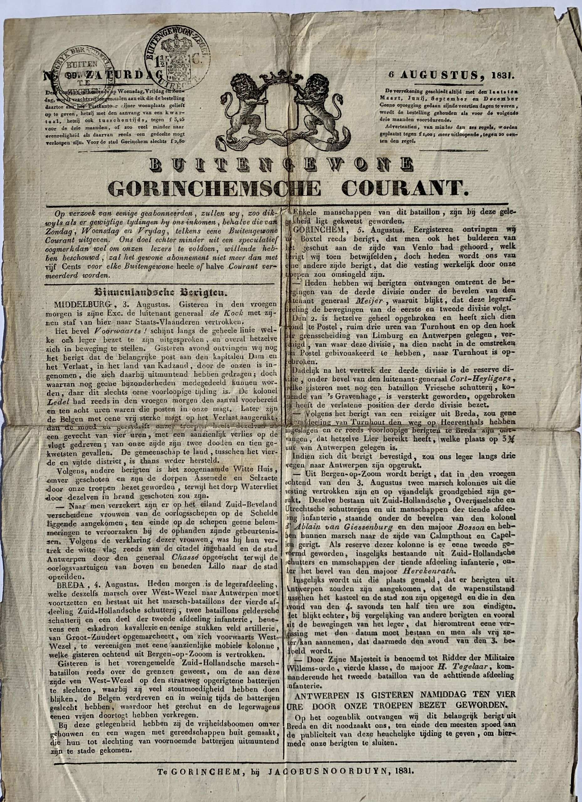 krant 6 augustus 1831