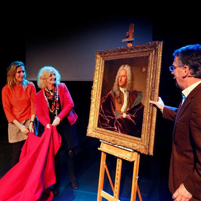 onthulling schilderij Rigaud van Van Hoey door burgemeester Melissant