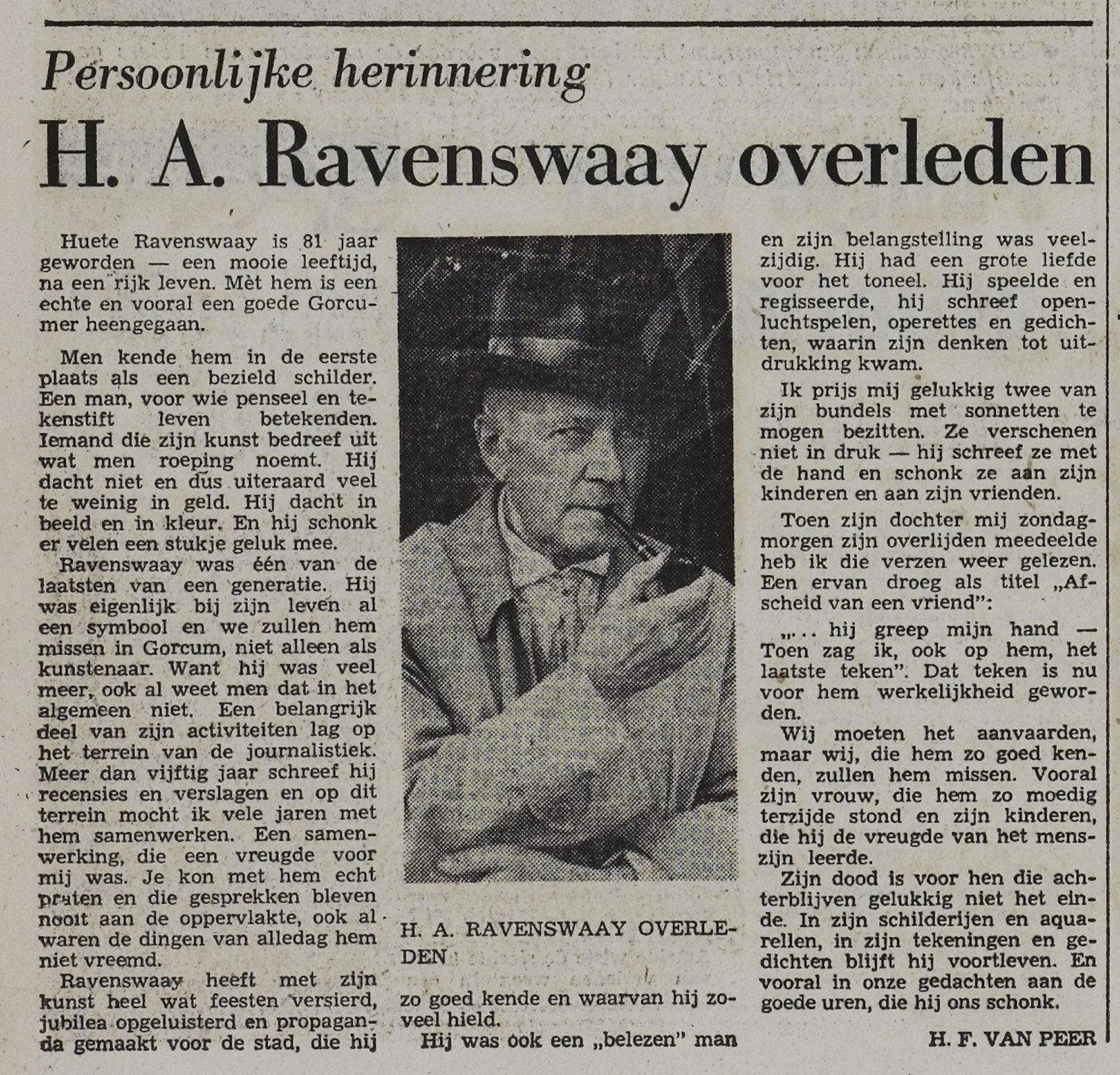 Necrologie Van Ravenswaay