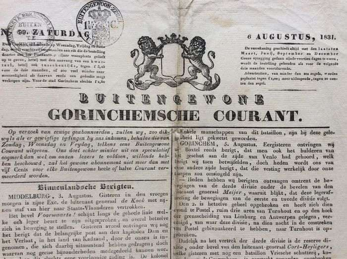 Kop courant 10 daagseveldtocht 1831